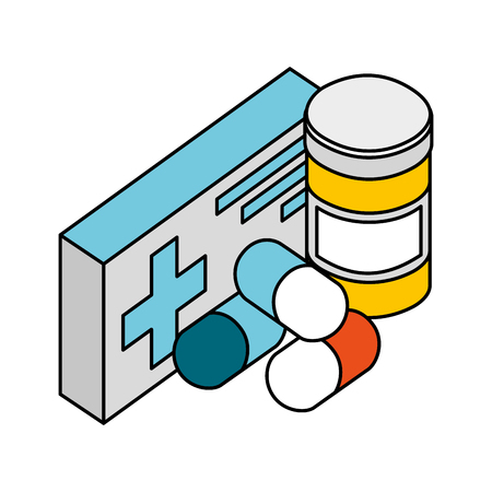 pharmacy medicine pills medical healthcare vector illustration Иллюстрация