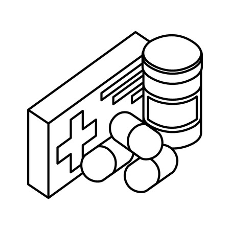 pharmacy medicine pills medical healthcare vector illustration outline