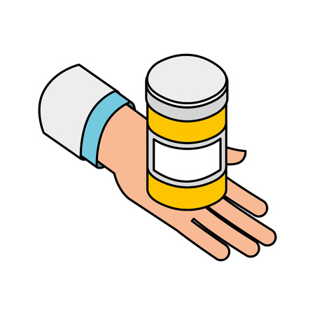 hand with bottle pills medical healthcare vector illustration