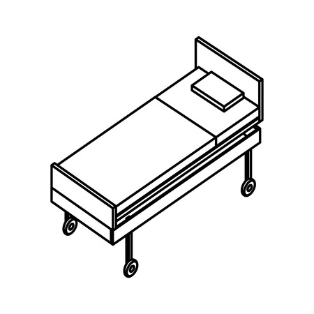 bed with wheels medical healthcare vector illustration outline