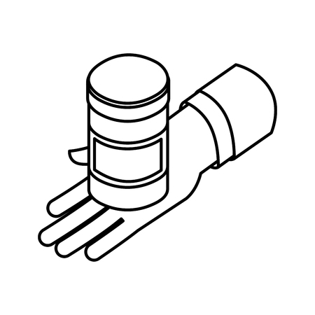 hand with bottle pills medical healthcare vector illustration outline