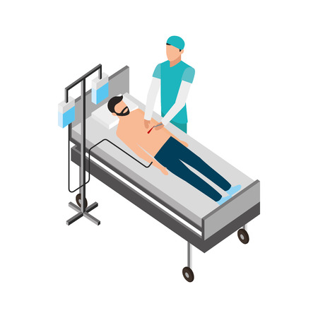 doctor and patient operating surgical vector illustration