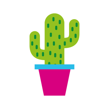 potted cactus retro hippie style vector illustration