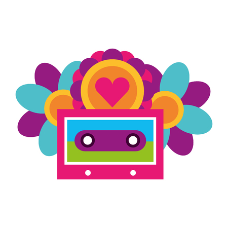 cassette flowers heart retro hippie style vector illustration