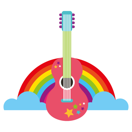 guitar rainbow retro hippie style vector illustration Çizim