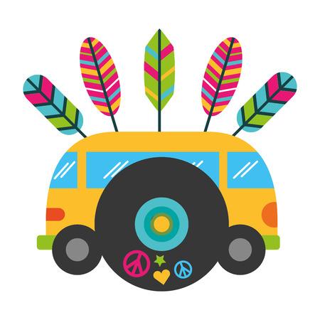 mini van music vinyl vintage hippie vector illustration Illustration