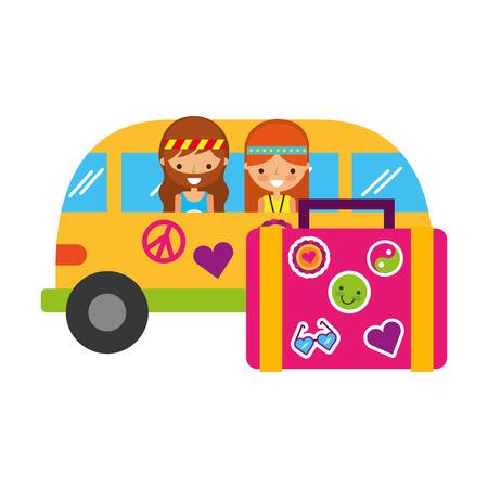 hippie couple in mini van suitcase travel vector illustration