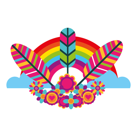 hippie retro tribal feathers rainbow decoration vector illustration