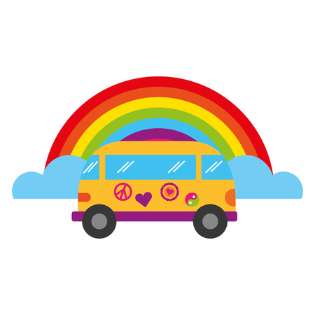 mini van rainbow retro hippie style vector illustration Çizim