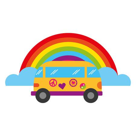 mini van rainbow retro hippie style vector illustration Illustration