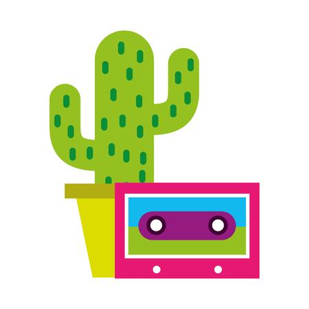 cactus cassette retro hippie style vector illustration