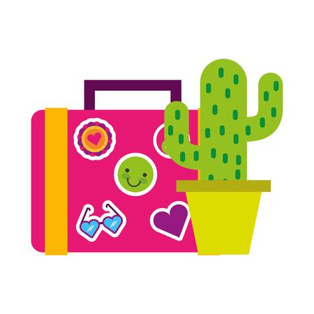 cactus and suitcase decoration retro hippie style vector illustration