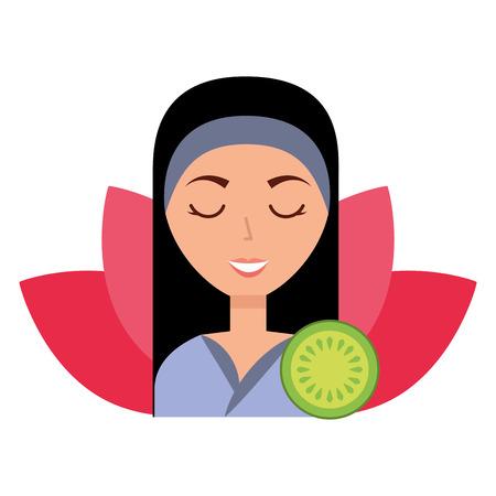woman lotus flower skin care spa vector illustration Stock Illustratie