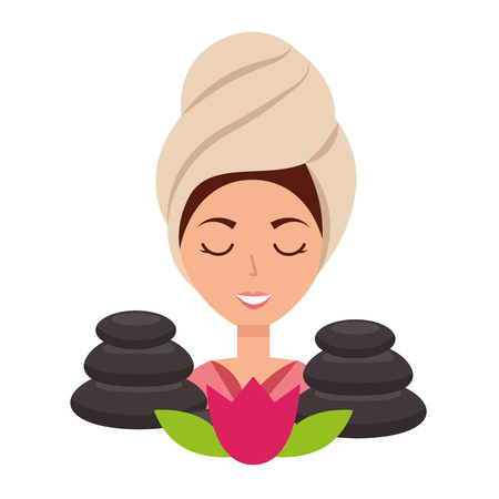 woman with towel in head stones flower spa vector illustration