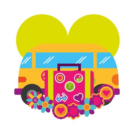 mini van flowers suitcase love retro hippie style vector illustration