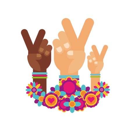 hands peace and love flowers retro hippie style vector illustration  イラスト・ベクター素材