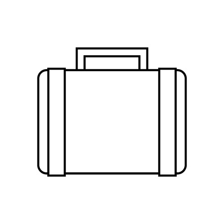 suitcase retro hippie style vector illustration outline Illustration
