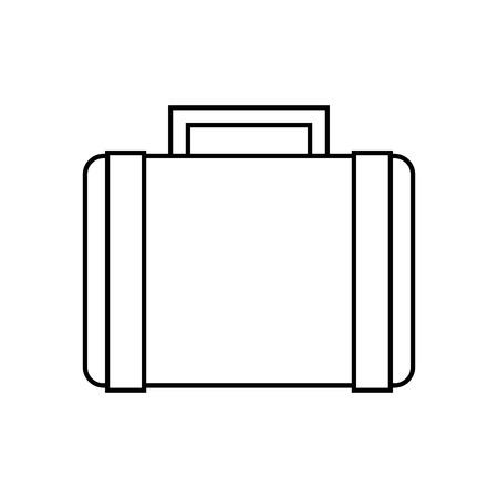 suitcase retro hippie style vector illustration outline Ilustração