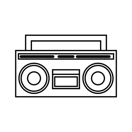 boombox radio retro hippie style vector illustration outline Illustration