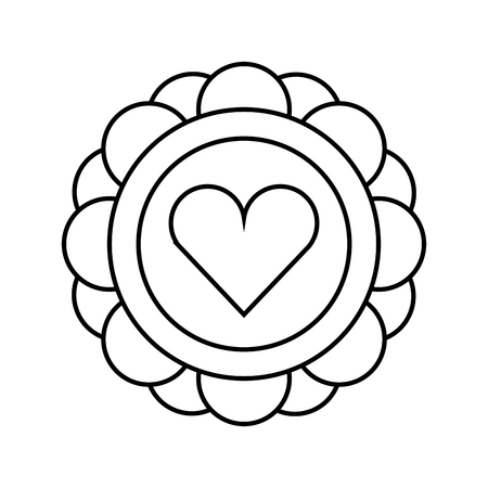 floral heart retro hippie style vector illustration outline