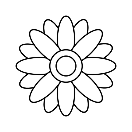 flower retro hippie style vector illustration outline
