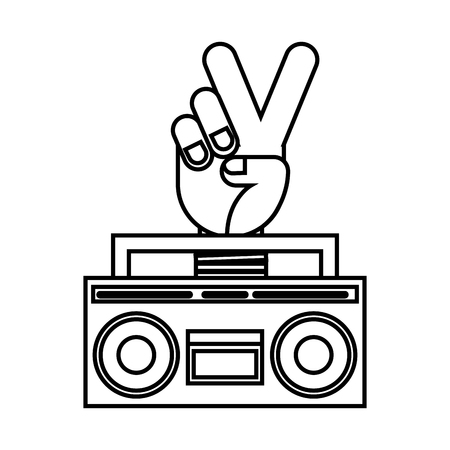 boombox radio peace and love hand retro hippie style vector illustration outline
