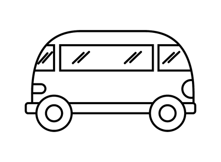 mini van retro hippie style vector illustration outline