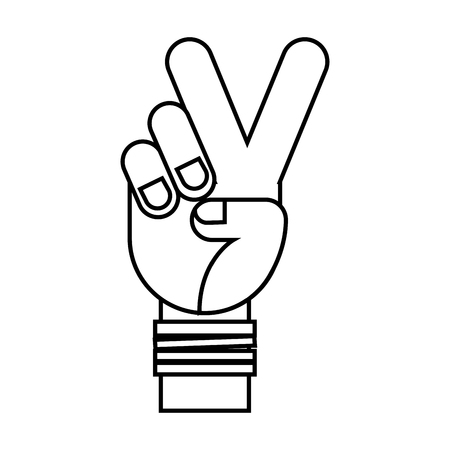 hand peace and love retro hippie style vector illustration outline