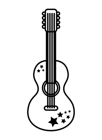 guitar music retro hippie style vector illustration outline