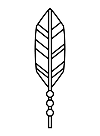 feather decoration retro hippie style vector illustration outline