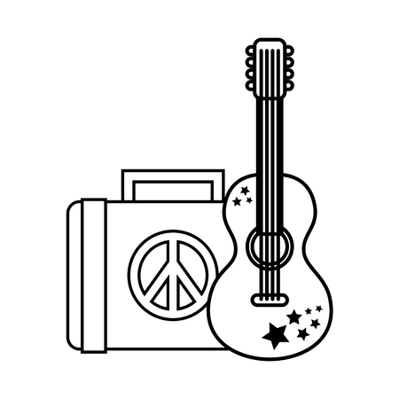 guitar and suitcase retro hippie style vector illustration outline