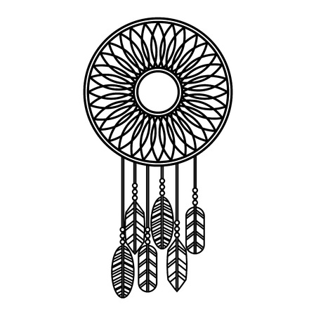 dream catcher retro hippie style vector illustration outline Illusztráció