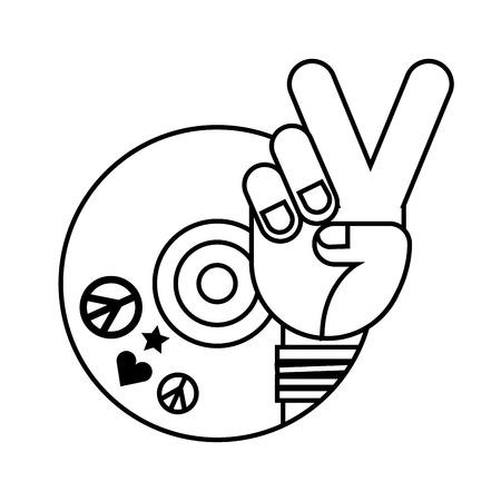 Mano, paz y amor, vinilo, retro, hippie, estilo, vector, ilustración, contorno
