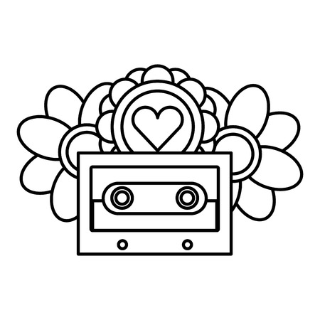 cassette flowers heart retro hippie style vector illustration outline Illustration