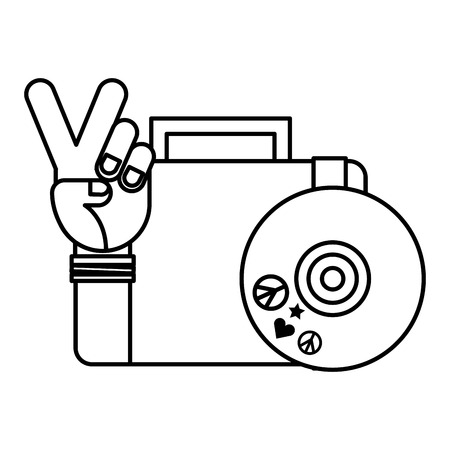 hand peace and love vinyl and suitcase retro hippie style vector illustration outline