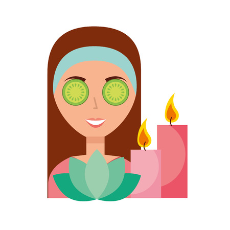 woman skin care candles and flower spa vector illustration