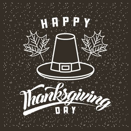 thanksgiving hat leaves happy day decoration vector illustration