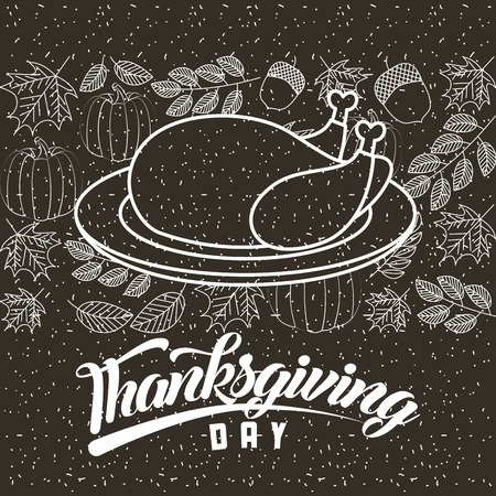 thanksgiving turkey plate happy day leaves vegetables vector illustration Illustration