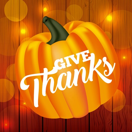 thanksgiving pumpkin sign lights wall background vector illustration Çizim
