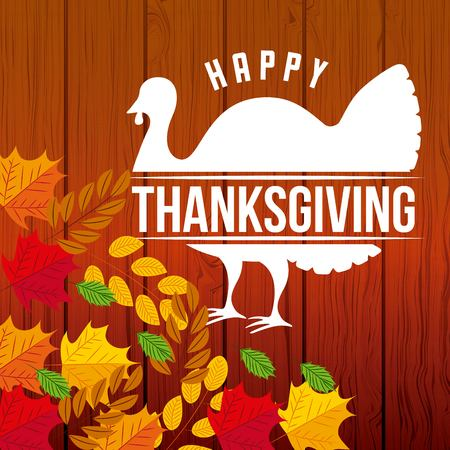 thanksgiving turkey happy day leaves wheats vector illustration