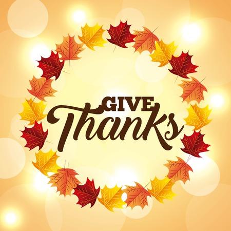 thanksgiving lights leaves circle decoration vector illustration Stock Vector - 109989891