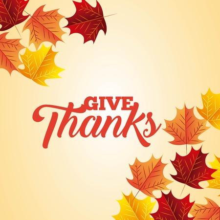 thanksgiving color leaves degrade background vector illustration