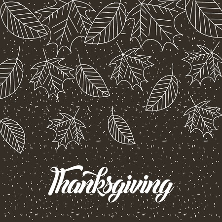 thanksgiving vintage leaves wheats decoration vector illustration Stock Vector - 109989895