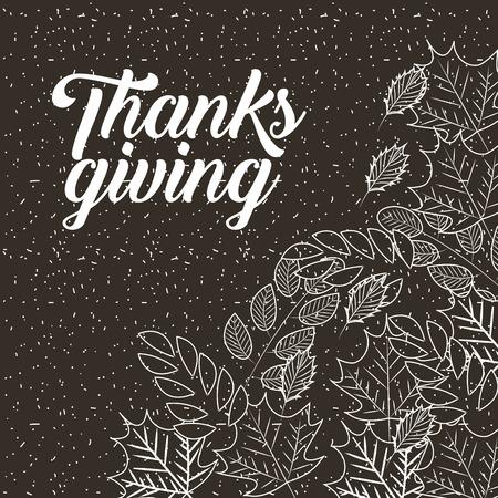 thanksgiving leaves food vintage style vector illustration
