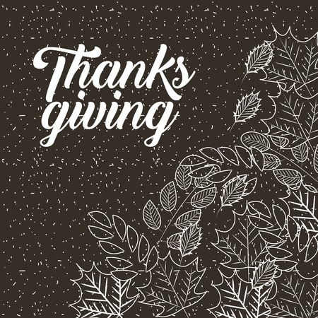 thanksgiving leaves food vintage style vector illustration