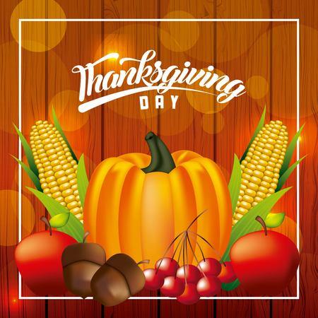 thanksgiving happy day pumpkin vegetables food frame vector illustration Stock Vector - 109989898