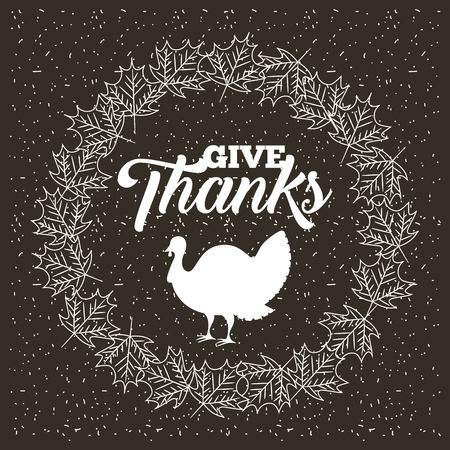 thanksgiving leaves decoration turkey vintage vector illustration Stock Vector - 109989900