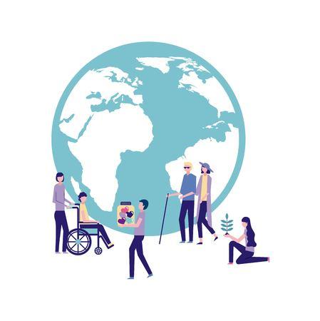 volunteers help work international people together donate vector illustration