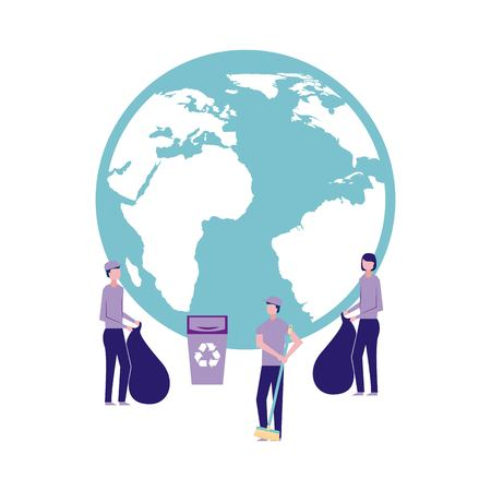 volunteers help work international recycling things cleaning vector illustration