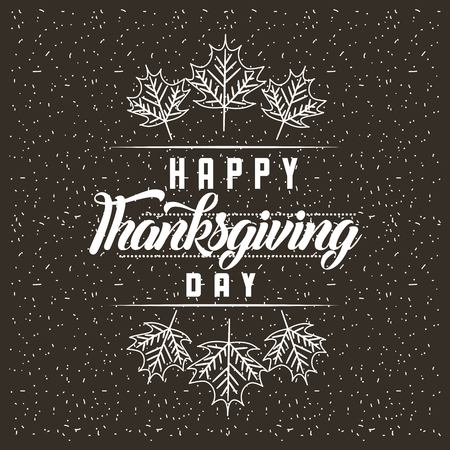 thanksgiving happy day leaves decoration vector illustration